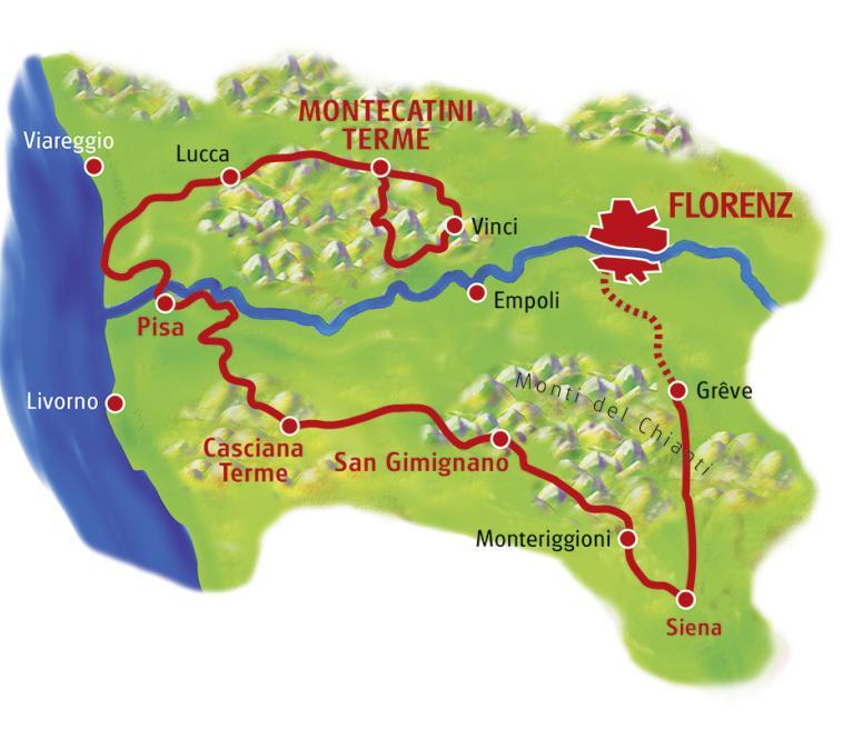 מפת טיול האופניים בטוסקנה ממונטקטיני טרמה לפירנצה