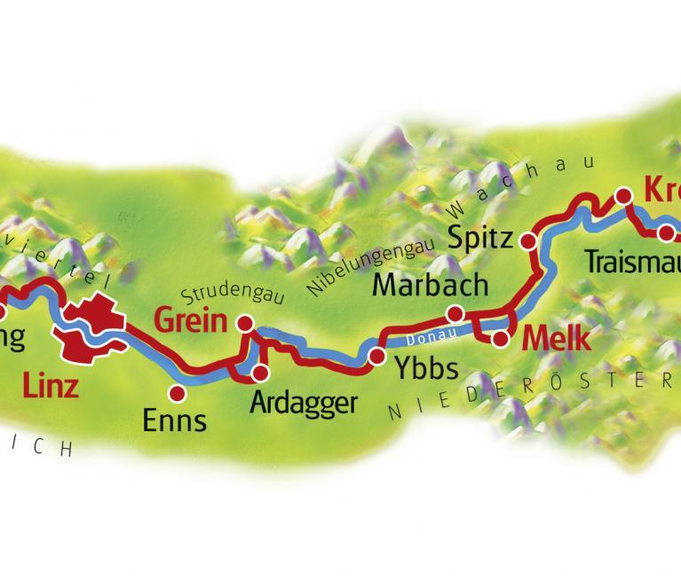 מפת טיול האופניים מפסאו לוינה לאורך הדנובה