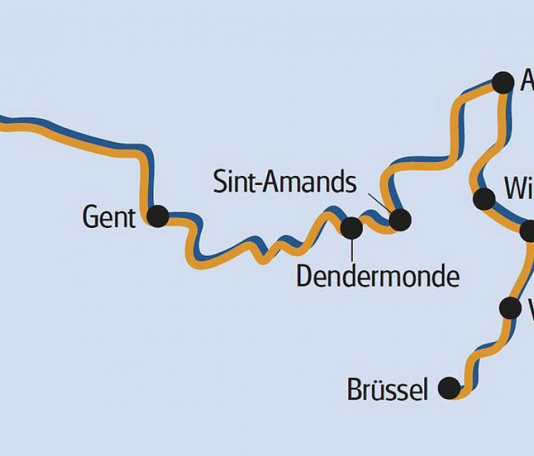 מפת הטיול מבריסל לברוז'