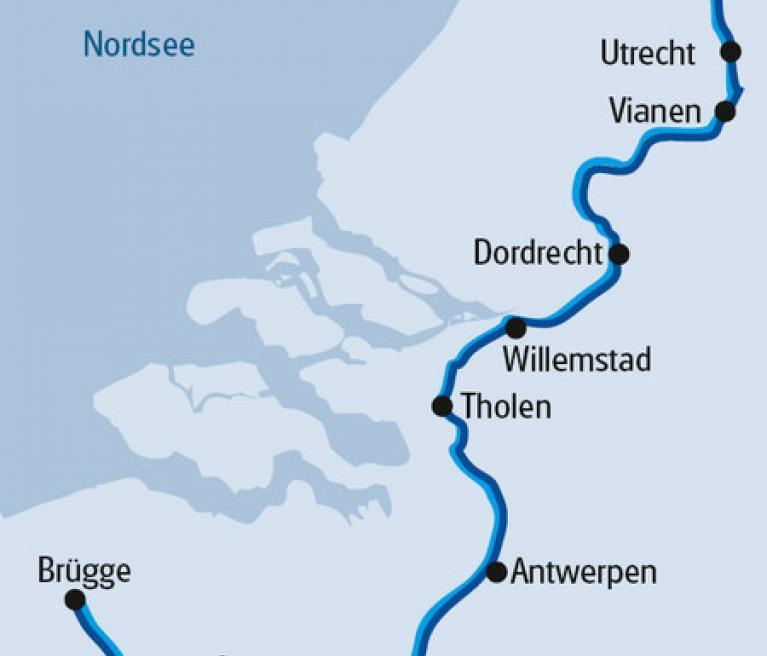 מפה של הטיול מאמסטרדם לברוז'