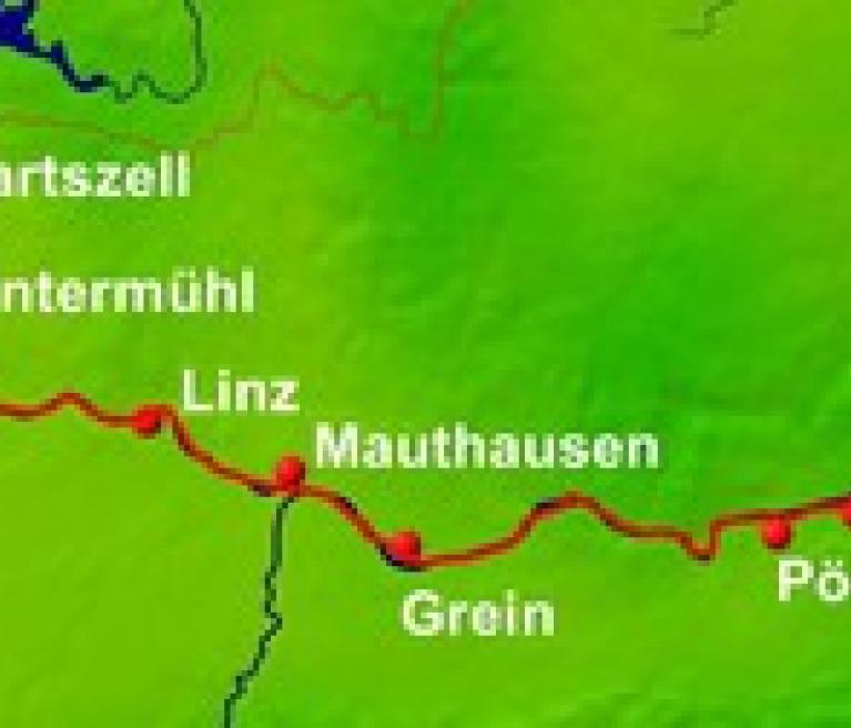 מפת הטיול של שייט ואופניים על הדנובה