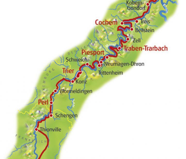 מפת טיול האופניים במוזל ב-8 ימים ממץ לקובלנץ