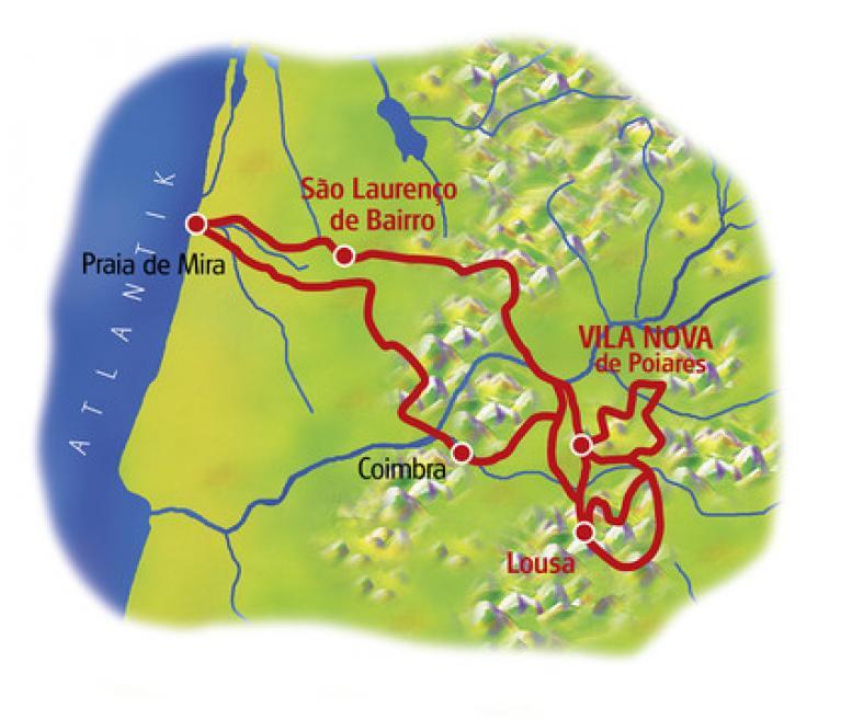 מפת טיול האופניים בפורטוגל מוילה נובה דה פוארס לקוימברה