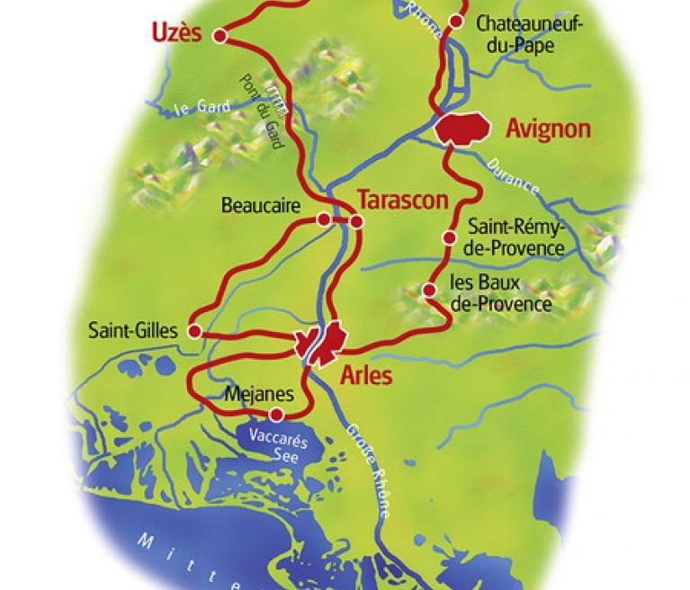 מפת טיול האופניים במסלול פרובאנס וקמארג מאורנג' לאורנג'