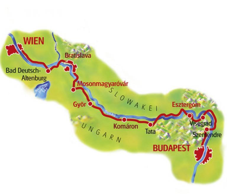 מפת טיול האופניים מוינה לבודפשט