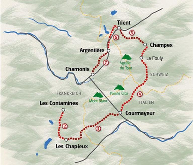 מפת הטיול טור מון בלאן בשוויץ, איטליה וצרפת