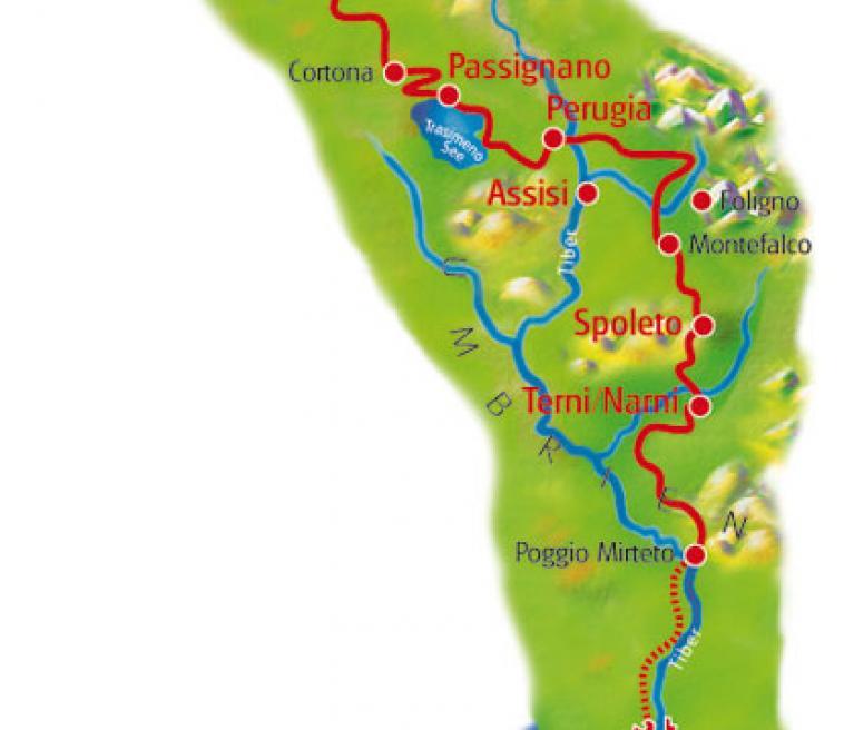מפת טיול פירנצה לרומא