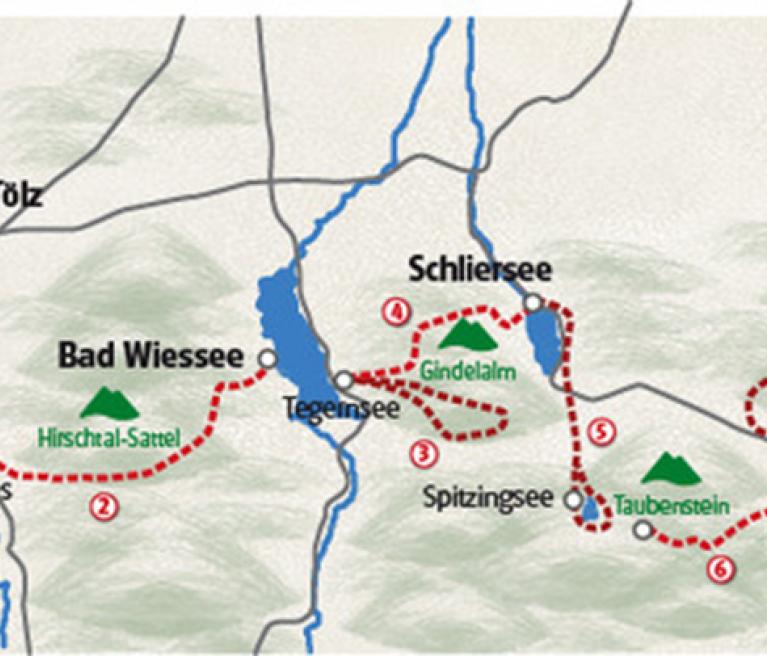 מפת הטיול באגמי בוואריה ממינכן לאגמי האזור