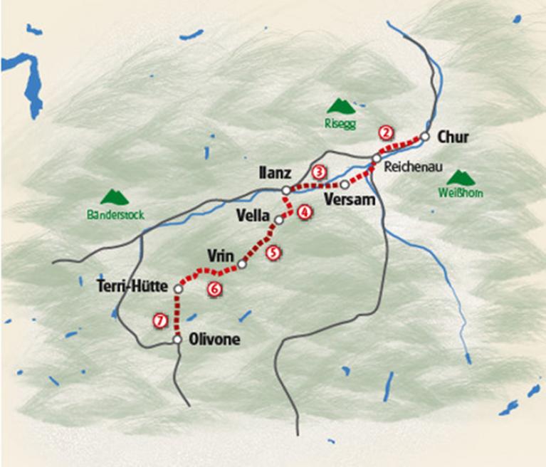 מפת הטיול בין ההרים השווייצרים