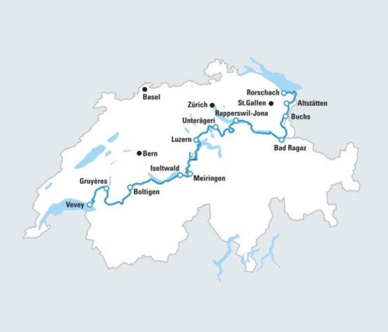 מפת טיול האופניים במסלול האגמים ממונטרה לראפרסוויל