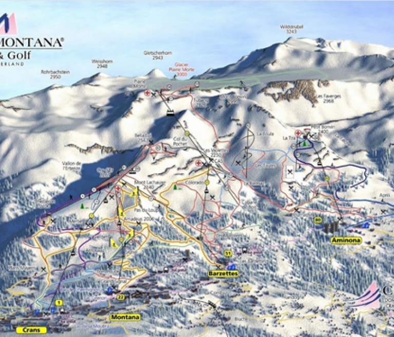 מפת מסלולי סקי בקראנס מונטנה