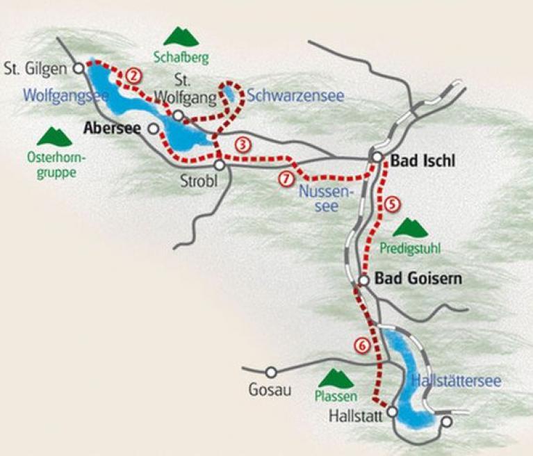 מפת הטיול סובב אגמי אוסטריה בחבל Salzkammergut