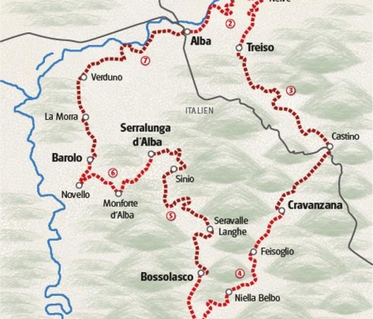 מפת הטיול בחבל פיימונטה מאלבה לאלבה