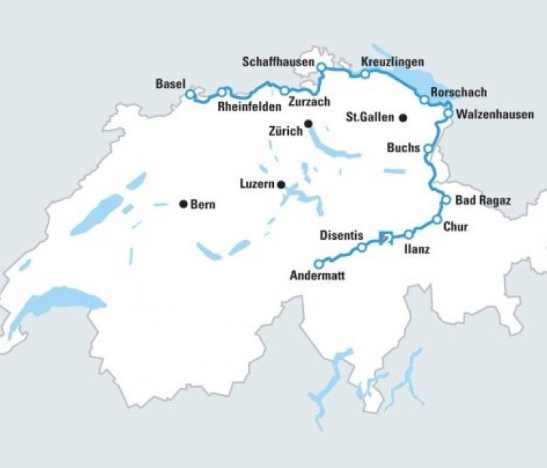 מפת טיול האופניים במסלול הריין מבוקס לבאזל