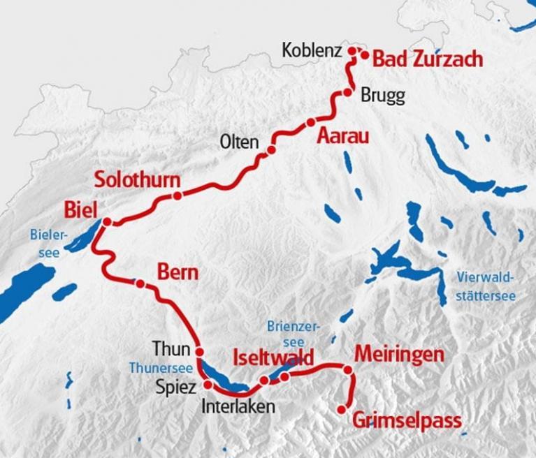 מפת טיול האופניים לאורך הארה ממיירינגן לאראו