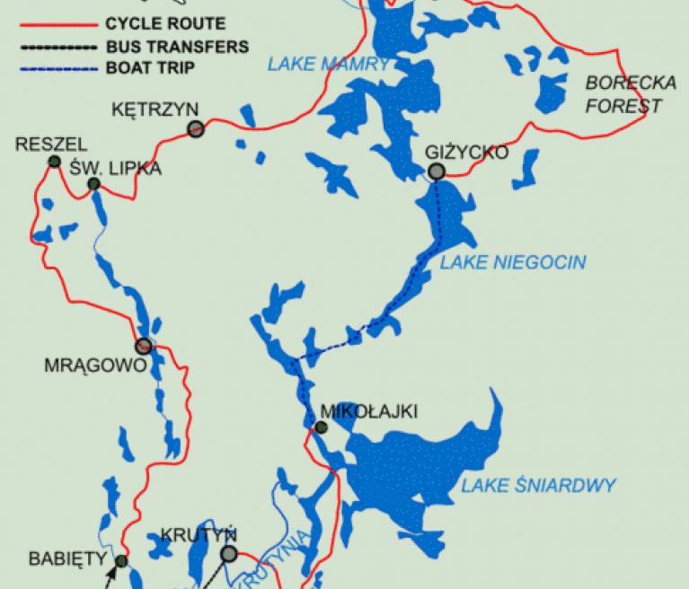 מפת טיול האופניים בין אגמי מזוריה מוורשה לוורשה