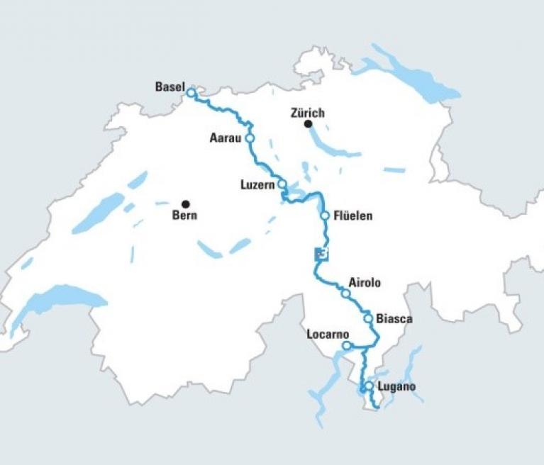 מפת הטיול מצפון לדרום שוויץ מבאזל ללוקארנו