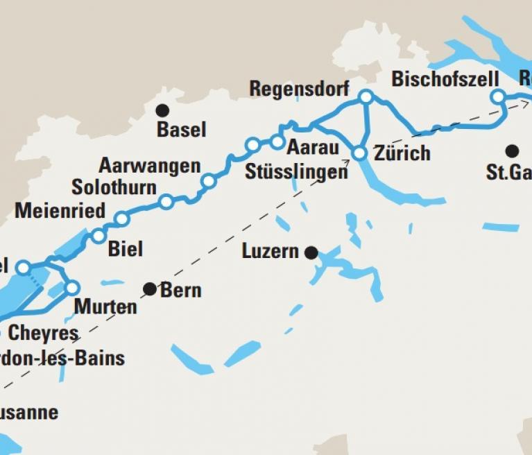מפת טיול האופניים במרכז שוויץ מציריך ללוזאן