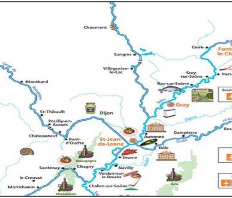 מפת טיול השייט העצמאי באזור בורגונדי