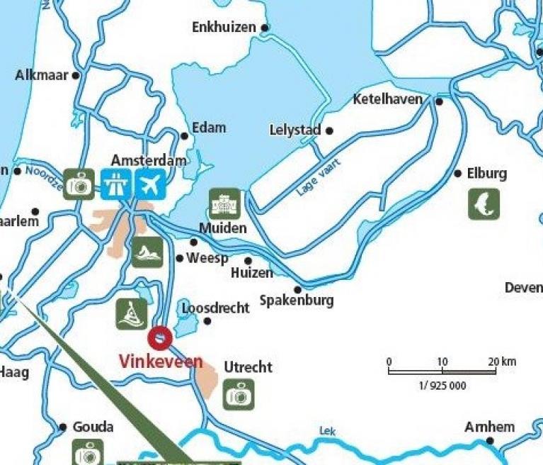 מפת הטיול החווייה המשפחתית על המים במיטב של הולנד