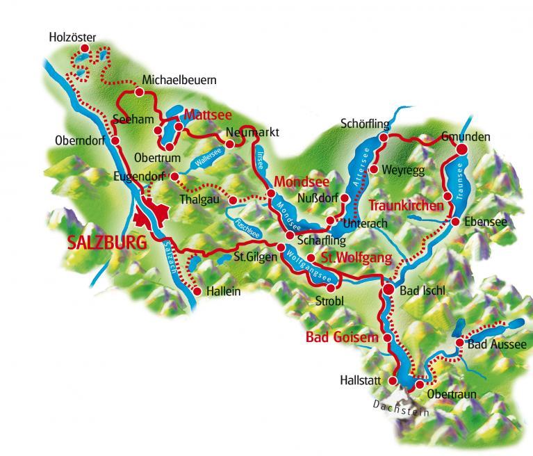 מפת טיול האופניים באוסטריה עשרת האגמים מזלצבורג לזלצבורג