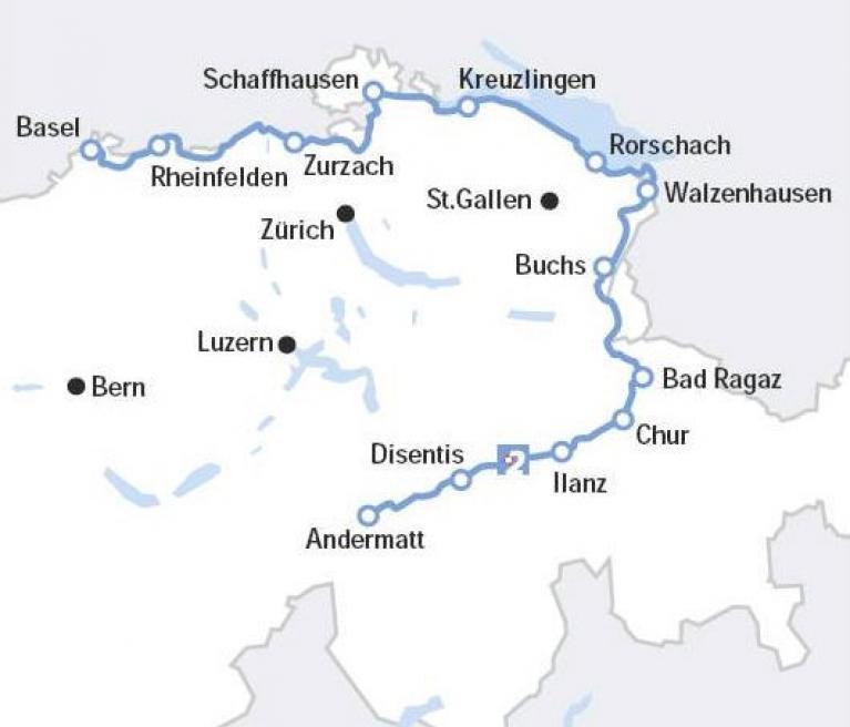 מפת טיול האופניים במסלול הריין בשוויץ בהדרכת גילי כץ לורבר
