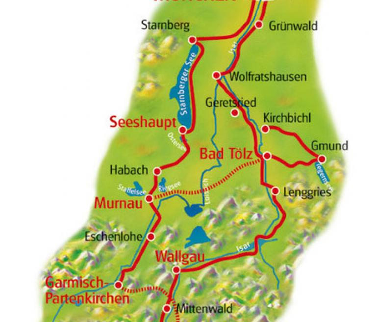 מפת הטיול אגמי מינכן