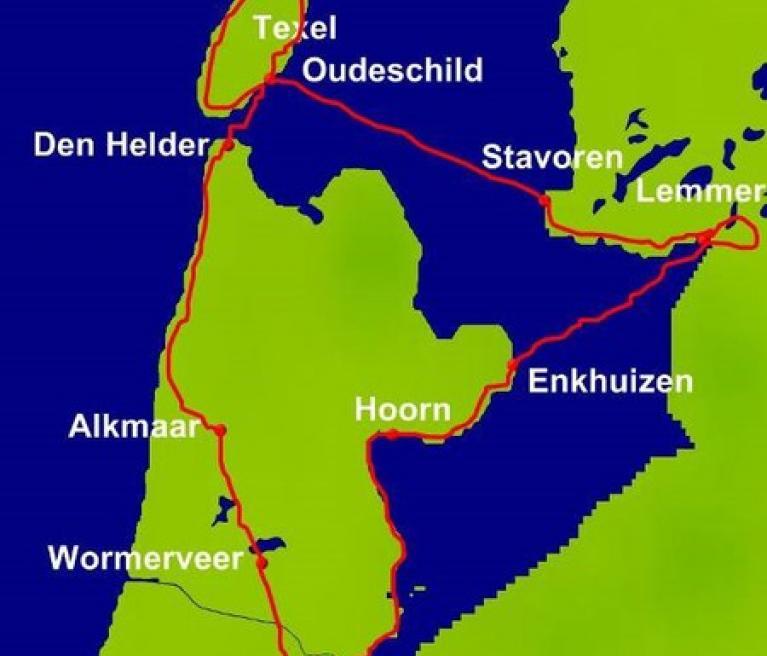 מפה הטיול בצפון הולנד