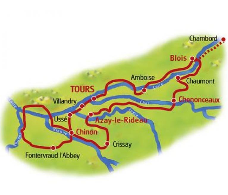 מפת טיול האופניים בעמק הלואר מטור לטור
